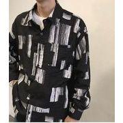 秋冬新作メンズワイシャツ トップス シンプル おしゃれ♪ブラック/ホワイト2色