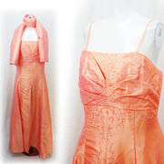 【即納】ビーズ刺繍たっぷり すかーとふんわり ストール付き ゴージャス タフタ ロングドレス
