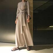 2018秋新作レディースオールインワンワイドレッグパンツ 2色無地ハイウエスト通勤韓国ファッション