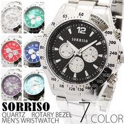 正規品SORRISOソリッソ シチズンミヨタムーブメント 回転式ベゼル フェイクダイヤル SRHI2 メンズ腕時計