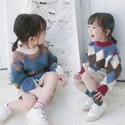 キッズ セーター ニットチュニック 長袖 SALE ラウンドネック ストライプ  韓国子供服