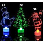 七彩 アクリル クリスマスツリー 雪だるま サンタクロース 小夜灯 贈り物 クリスマスの飾り