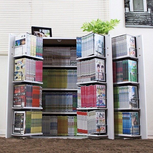 【6/下】DVDで最大400収納書棚 ストッカー ホワイト 日本製 FM70WH