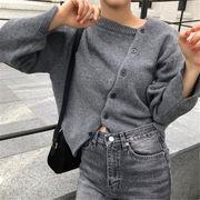 韓国 スタイル ファッション レディース 非対称 セーター ニット ジャケット スタジャン アウター
