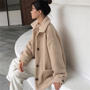 韓国 スタイル ファッション レディース 2019 ハングルセレブstyle ゆったり フリース コート アウター