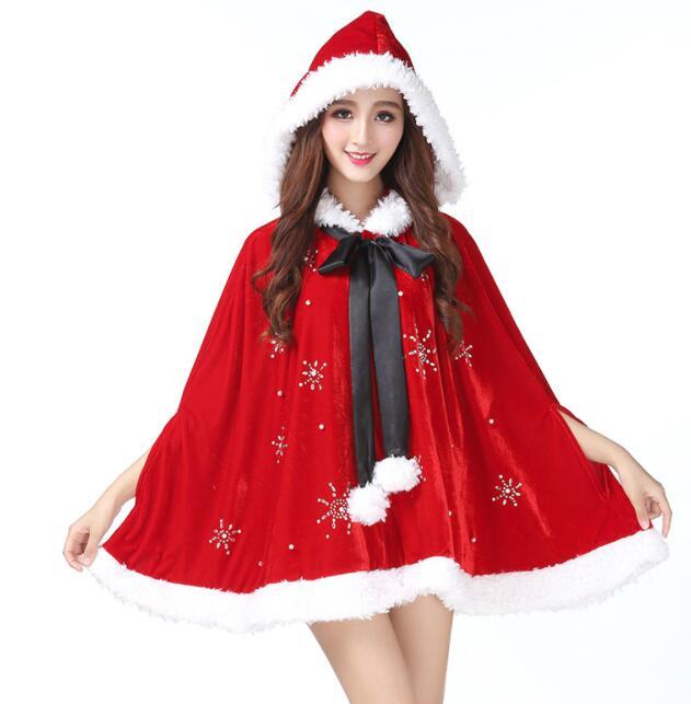レディースクリスマス衣装 コスプレ衣装 マント キラキラ サンタコスチューム