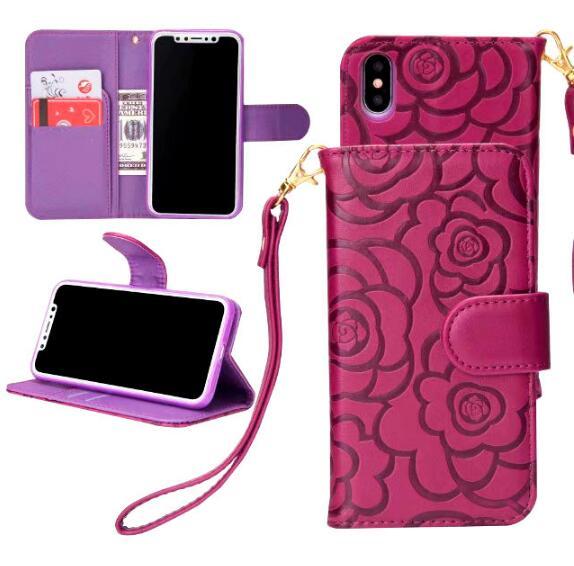 7カラー★カメリア花柄 アイフォン6Pケース iphone6 ケース 手帳型iPhone X/XS/XR/XS Maxケース