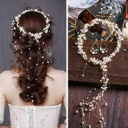 結婚式・花嫁定番・髪飾り・花嫁ヘアアクセサリー・ウェディングティアラ+イヤリング