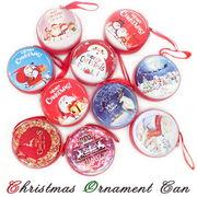 【季節限定】クリスマスオーナメント缶【選べる10種類】サンタクローストナカイ 雪だるま リース
