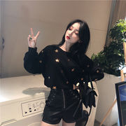 韓国ファッション  CHIC気質  ゆったりする  ラウンドネック  刺繍  スウェットシャツ
