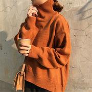 韓国 スタイル ファッション レディース 韓国風 無地 ゆったり 長袖 編み織 セーター
