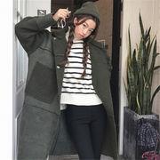 韓国 スタイル ファッション イージー カジュアル キルティング コート アウター
