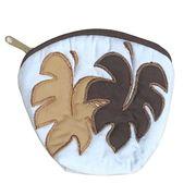 ハワイアンキルト Hawaiian Quilt  モンステラコインケース ライトブラウン×ブラウン