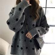 2018 秋 冬 韓国 スタイル ファッション ゆったり ドット柄 長袖 ニット 編み織 セーター