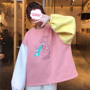 韓国 スタイル ファッション 配色 長袖 裏起毛 スウェット トレーナー パーカー トップス