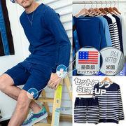 【2016 新作】 メンズ USAコットン 星条旗柄タブ セットアップ / 9分袖 Tシャツ ショートパンツ ハーフ