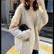 韓国 スタイル ファッション 秋 冬 ヴィンテージ ケーブル編み 長袖 ニット セーター