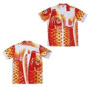 日本製 made in japanアロハシャツ 赤 S 箔入 178197