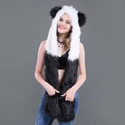 激安☆ハロウィン★ダンスパーティー◆手袋付耳あて帽子◆cosplay★フェイクファースカーフ★パンダ