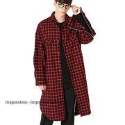 チェックコート ロング丈 長袖 チェックシャツ ビッグサイズ 赤 青 メンズ インプローブス 韓国