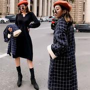 2018年新秋の作 韓国ファッション  着痩せ効果抜群  中・長セクション  スリムフィット  ウールコート