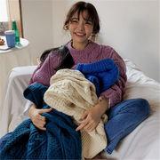 韓国 スタイル 秋 冬 ファッション ヴィンテージ ゆったり ニット 編み織 セーター