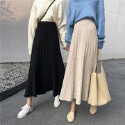 ロングニットスカート 韓国風 カットソー ハイウエストスカート