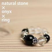 天然石 オニキス 水晶 リング パワーストーン SS002 指輪 アクセサリー 開運風水