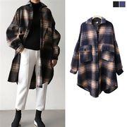 タータンチェック ウールブレンド シャツ オーバーサイズ ビッグシルエット レディース ブラウス