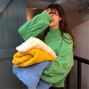 韓国 スタイル ファッション 秋 冬 激安 カジュアル ハイネック 長袖 ニット セーター