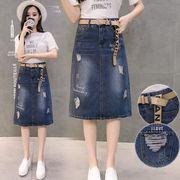 デニムスカート ダメージ加工 ミディアム丈デニムスカート スリット 大きいサイズ