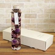 ハーバリウム丸瓶(円柱)パープル 化粧箱付き
