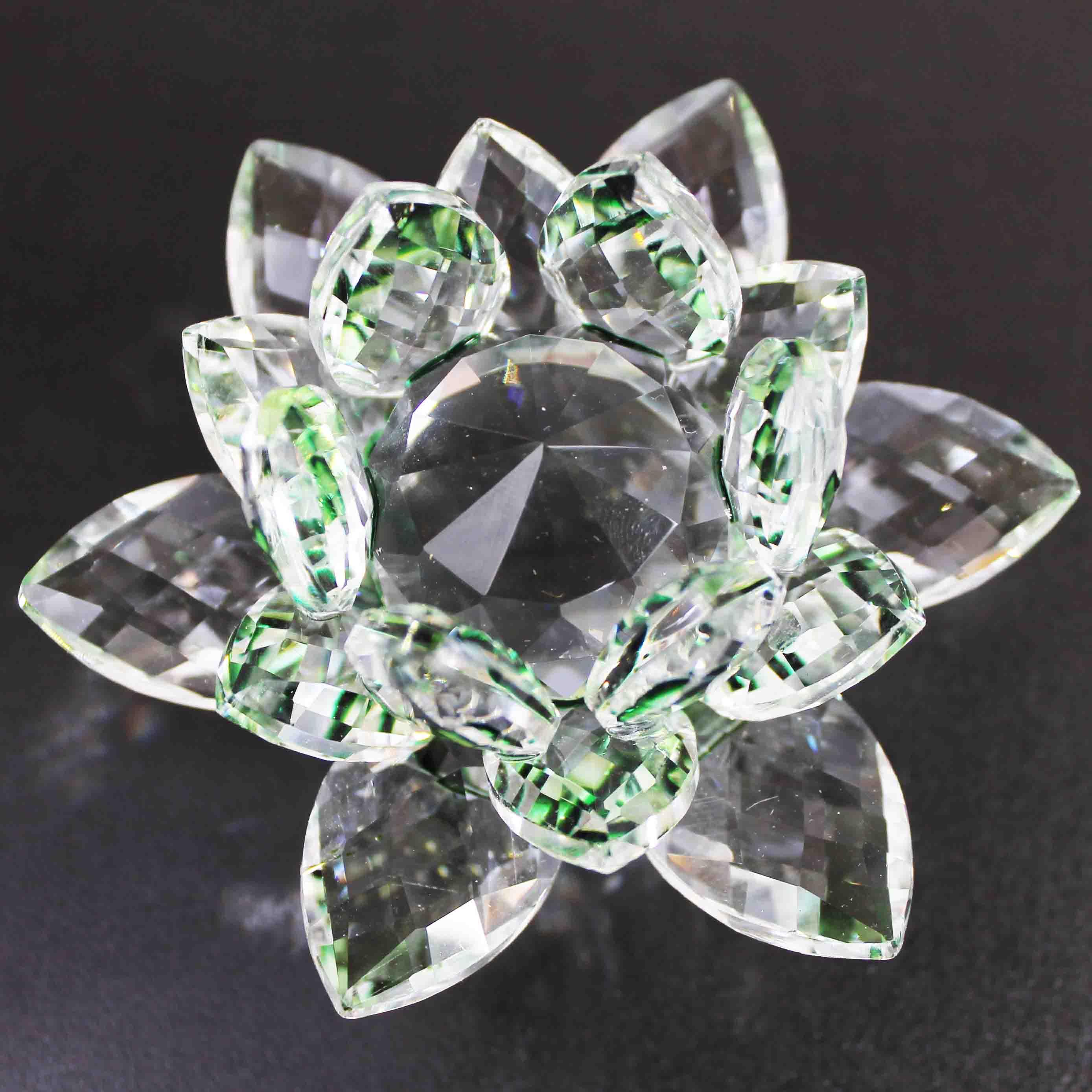 クリスタルガラス蓮花台 グリーンカラー 小サイズ  品番: 10089