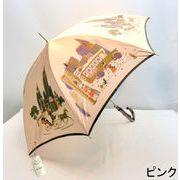 【日本製】【雨傘】【長傘】甲州織生地ホグシ織バスムーン柄タッセル付手元日本製ジャンプ傘