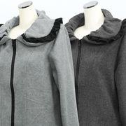 【冬 新作】レディース アウター ピーチ起毛 ボリューム衿 BIGジップ ジャケット 4枚セット