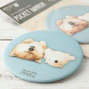 柴犬まるのファブリック製ポケットミラー: しろくまさんと添い寝まる