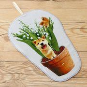 柴犬まるのループ付きダイカットミニタオル すずらんの植木鉢