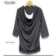 ★サロン系スタイルに最適★クシュクシュのドレープがフェミニなトリプルネックレイヤード7分袖カットソー