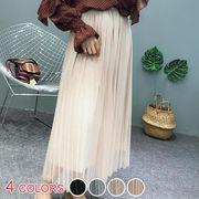 【OML】レイヤード風キラキラチュールプリーツロングスカート:全4色_OML7221