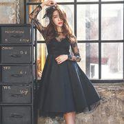 大きいサイズドレス Aライン レースワンピース ブラックドレス