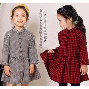 2019春新作 子供服 韓国風ワンピース 女の子  長袖  チェック柄 綿 フレア  シャツネック かわいい