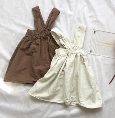 ★新作アパレル★子供 キッズ服★INS 綿麻 ワンピース★キッズファッション★吊りスカート