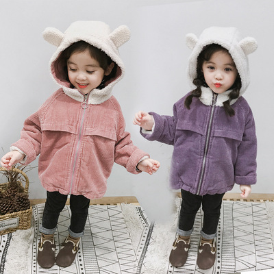 かわいい 小 王女 冬服 新しい 韓国風 手厚い 手厚い コーデュロイ アウターウェア