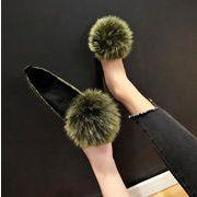 シューズ パンプス フラット ファー もふもふ デザイン ボンボン 韓国 ファッション