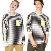 【2019春夏新作】メンズ ボーダー ポケット付き ネオンカラー プリント ライン 長袖Tシャツ
