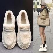 ピーズ靴 女 新しいデザイン 韓国風 厚底 ささいなこと ヒール ミドルヒール ふわふわ