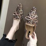 靴 女 新しいデザイン 韓国風 ヒント 半 トウ ファッション スパンコール フット ス