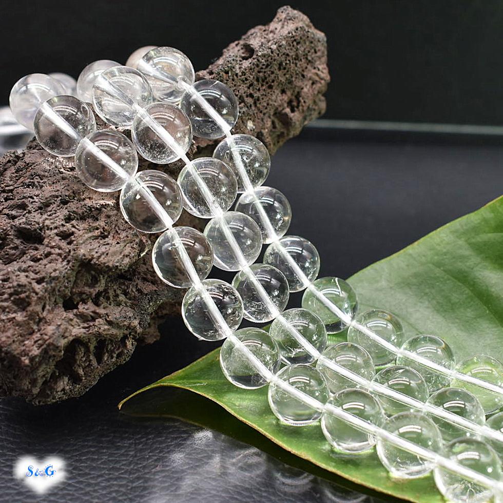 【即納 実物撮影】高品質 天然石 パワーストーン 天然水晶 ビーズ 連 ネックレス ブレスレット 12mm 39cm