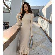 韓国人気商品!!ニットワンピース 女性 春 2019  新しい セータースカート  フィッシュテールスカート