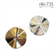 変形 ラウンド型 メタルカラー【riki-735】 ヴィンテージ風 モダンビーズ デザイン アクリル ハンドメイド